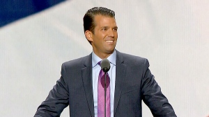 Donald Trump, Jr., son of Republican Presidential Candidate Donald Trump, is shown speaking during the second day of the Republican National Convention in Cleveland on Tuesday, July 19, 2016.