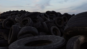 Millions of used tires lay stored on a dump in Sesena, south of Madrid, Spain, on Sept. 30, 2014. (Daniel Ochoa de Olza / AP)