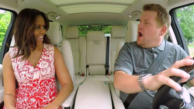 Michelle Obama jams in James Corden's Carpool Karaoke