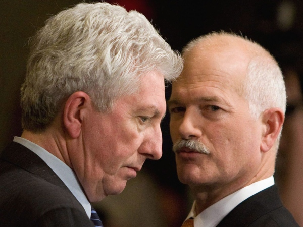 Bloc Quebecois Leader Gilles Duceppe, left, and NDP Leader Jack Layton talk in the foyer of the House of Commons on Parliament Hill in Ottawa on Tuesday, Jan. 27, 2009., after hearing the budget. (Sean Kilpatrick / THE CANADIAN PRESS)