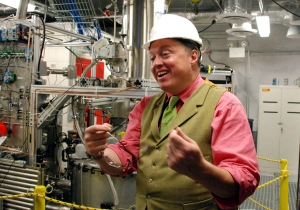 In this Oct. 29, 2013, photo Richard Gaitskell, study co-investigator from Brown University, explains an experiment being conducted deep in an abandoned gold mine in Lead, S.D., to search for elusive and mysterious dark matter. (AP Photo/Chet Brokaw, File)