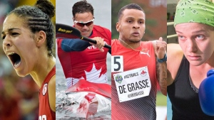 Composite photo of Canadian athletes, from left: Kia Nurse, Mark de Jonge, Andre de Grasse and Arian Fortin (THE CANADIAN PRESS)