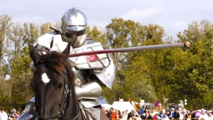 Medicine Hat's Jason Armstrong, shown here in the undated photo, is one of the top performers in the emerging sport of competitive jousting, on Feb. 6, 2012. (Jason Armstrong/The Canadian Press)