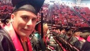 In this May 2016 photo released by a family member shows Robin Shahini during his International Security and Conflict Resolution San Diego State University graduation ceremony in San Diego, Calif. (Shahini Family Photo via AP)