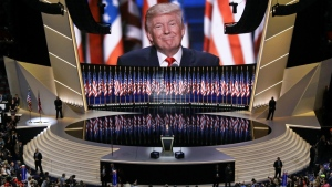 Republican presidential candidate Donald Trump smiles as he addresses delegates during the final day session of the Republican National Convention in Cleveland on Thursday, July 21, 2016. (AP / Patrick Semansky)