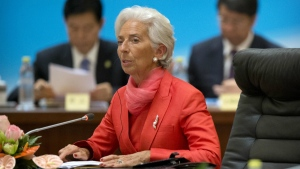 International Monetary Fund (IMF) director Christine Lagarde, centre, speaks during the 1+6 Roundtable on promoting growth in the Chinese and global economies at the Diaoyutai State Guesthouse in Beijing, China on Friday, July 22, 2016. (AP / Mark Schiefelbein)