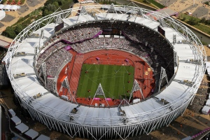 This is a Friday, Aug. 3, 2012 file photo of an aerial photo of the Olympic Stadium during the 2012 Summer Olympics at Olympic Park, in London. (AP Photo/Jeff J Mitchell, Pool, File)