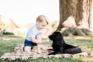 Prince George is shown with the family dog, Lupo, in this photo posted on Twitter by Kensington Palace on July 22, 2016.