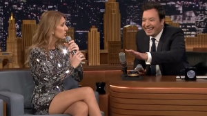 Celine Dion appears on The Tonight Show with host Jimmy Fallon.