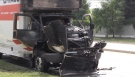A U-Haul truck went up in flames in northwest London, Ont, on Friday, July 22, 2016. (Daryl Newcombe / CTV London)