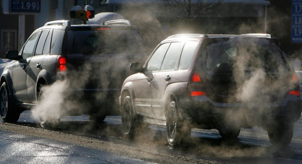 Cars give off exhaust fumes in Montpelier, Vt., Monday, Jan. 26, 2009. (AP / Toby Talbot)