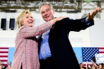 Democratic presidential candidate Hillary Clinton, accompanied by Sen. Tim Kaine, D-Va., speaks at a rally at Northern Virginia Community College in Annandale, Va. on July 14, 2016. (AP / Andrew Harnik)