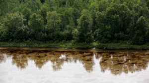 Oil is seen on the North Saskatchewan River near Maidstone, Sask. on Friday July 22, 2016. Husky Energy has said between 200,000 and 250,000 litres of crude oil and other material leaked into the river on Thursday from its pipeline. THE CANADIAN PRESS/Jason Franson