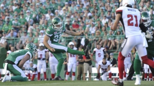 Saskatchewan Roughriders kicker Tyler Crapigna kicks a field goal during first half CFL action against the Ottawa Redblacks in Regina on Friday, July 22, 2016. (Mark Taylor / THE CANADIAN PRESS)