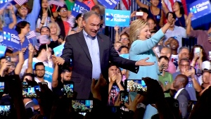 Hillary Clinton introduces running mate Tim Kaine