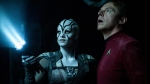"In this image provided by Paramount Pictures, Sofia Boutella, left, plays Jaylah and Simon Pegg plays Scotty in Star Trek Beyond. ""Star Trek Beyond"" has landed atop the weekend box office. (Kimberley French/Paramount Pictures via AP)"