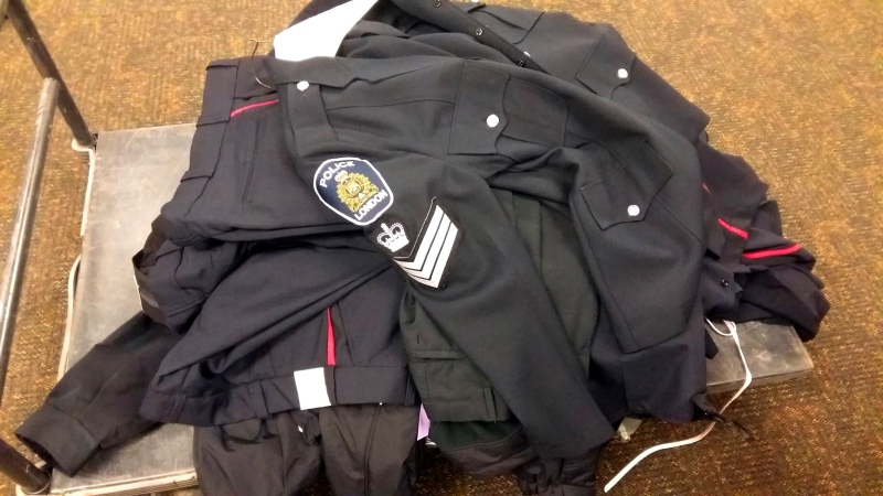 On Saturday, July 23rd, 2016, London Police recovered several uniforms stolen from a dry cleaning business. (Courtesy: London Police Service)