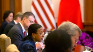 U.S. National Security Adviser Susan Rice, center, speaks during a meeting with Chinese State Councilor Yang Jiechi, at the Diaoyutai State Guesthouse in Beijing, Monday, July 25, 2016. (AP /Mark Schiefelbein, Pool)