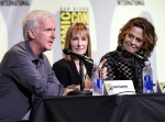 "Writer and director James Cameron, from left, producer Gale Anne Hurd, and actress Sigourney Weaver attend the ""Aliens"" panel on day 3 of Comic-Con International on Saturday, July 23, 2016, in San Diego. (Photo by Chris Pizzello/Invision/AP)"