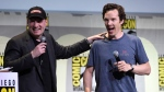"President of Marvel Studios Kevin Feige, left, and actor Benedict Cumberbatch attend the ""Dr. Strange"" panel on day 3 of Comic-Con International on Saturday, July 23, 2016, in San Diego. (Photo by Chris Pizzello/Invision/AP)"
