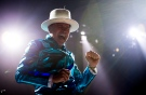 Frontman of the Tragically Hip, Gord Downie, leads the band through a concert in Vancouver on Sunday, July, 24, 2016. (The Canadian Press/Jonathan Hayward)