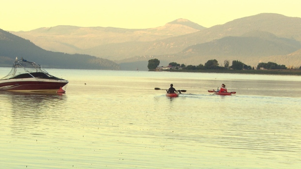 Swimmer takes aim at record with swim across okanagan lake ctv news for Deer lake swimming pool schedule