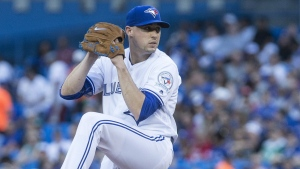 Toronto Blue Jays starting pitcher Aaron Sanchez works against the San Diego Padres during first inning Major League Baseball action in Toronto on Monday, July 25, 2016. (Chris Young / THE CANADIAN PRESS)