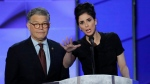 Sen. Al Franken, D-Minn., and comedian Sarah Silverman speak during the first day of the Democratic National Convention in Philadelphia , Monday, July 25, 2016. (AP / J. Scott Applewhite)