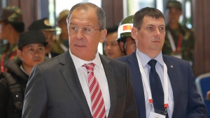Russian Foreign Minister Sergey Lavrov arrives for the Association of Southeast Asian Nations (ASEAN) Foreign Ministers' Meeting in Vientiane, Laos, Monday, July 25, 2016. (AP / Sakchai Lalit)