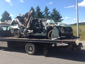 A vehicle that was involved in a fatal crash in Caledon on July 26 is shown. (Cam Woolley)