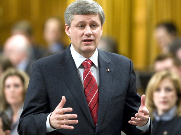 Prime Minister Stephen Harper responds to a question during Question Period in the House of Commons on Parliament Hill in Ottawa, on Thursday, Jan. 29, 2009. (Adrian Wyld / THE CANADIAN PRESS)