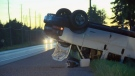 A single-vehicle crash on Line 86 west of Wallenstein left one vehicle on its roof on Tuesday, July 26, 2016.