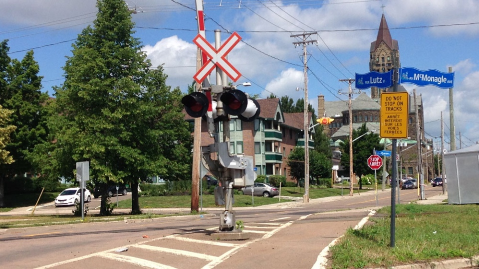 Steven Harel, 29, died after he was struck by a train at this crossing in Moncton in July 2016.