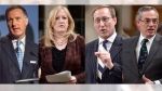 From left to right: Maxime Bernier, Lisa Raitt, Peter MacKay, Tony Clement (Photos: Canadian Press)