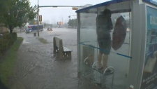 Bus stop flooded