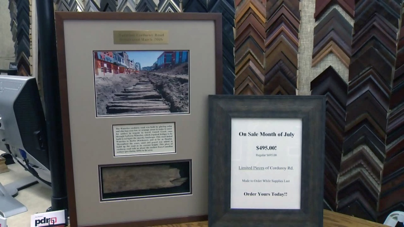 A framed section of corduroy road is seen at PDR Picture Frames in Waterloo on Wednesday, July 27, 2016.