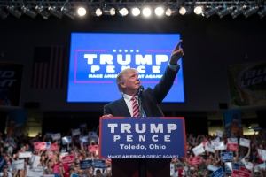 Republican presidential candidate Donald Trump points to the crowd as he speaks during a campaign rally, Wednesday, July 27, 2016, in Toledo, Ohio. (AP / Evan Vucci)