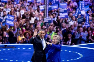 President Barack Obama and Democratic presidential candidate Hillary Clinton appear on stage together on the third day session of the Democratic National Convention in Philadelphia, Wednesday, July 27, 2016. (AP / Andrew Harnik)