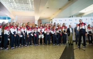 Russia's National Olympic team is shown at a ceremony in Moscow, Russia, before they depart for Rio, on July 28, 2016. (AP / Pavel Golovkin)