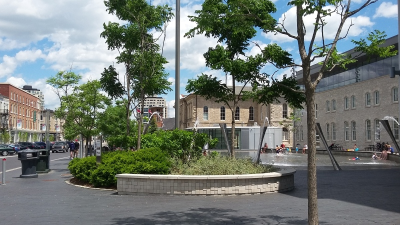 The Guelph City Hall splash pad seen in this photo taken in 2016. (Christina Marshall/ CTV Kitchener)