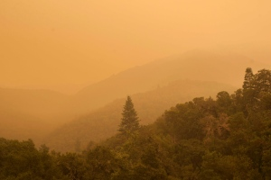 Smoke from a wildfire spreads over woods, as seen from White Rock in Carmel Valley, southeast of Monterey, Calif., Wednesday, July 27, 2016. (AP Photo/Nic Coury)