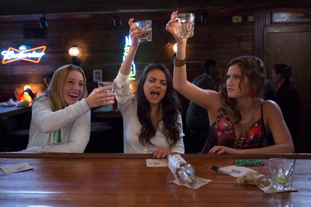 This image released by STX Productions shows, from left, Kristen Bell, Mila Kunis and Kathryn Hahn in a scene from, 'Bad Moms.' (Michele K. Short / STX Productions via AP)