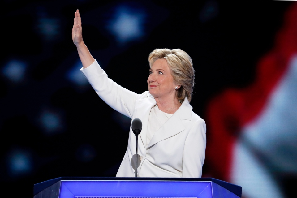 Democratic presidential nominee Hillary Clinton waves to delegates before speaking during the final day of the Democratic National Convention in Philadelphia , Thursday, July 28, 2016. (AP / J. Scott Applewhite)