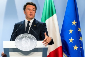 In this Wednesday, June 29, 2016 file photo, Italian Prime Minister Matteo Renzi speaks during an EU summit in Brussels. (AP Photo/Geert Vanden Wijngaert, file)