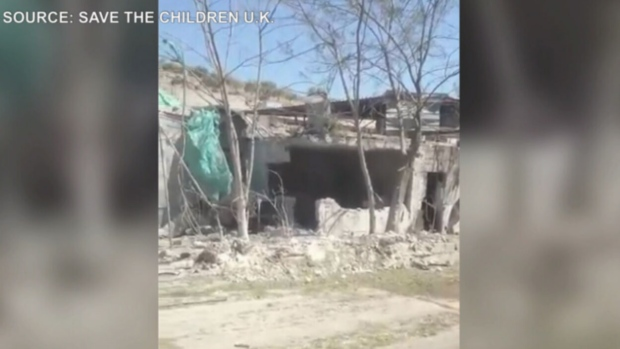 Ground footage shows the dusty remains of a maternity hospital in Syria. (Source: Save the Children U.K.)