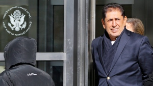 Former Guatemalan soccer federation president Brayan Jimenez leaves U.S. District Court in Brooklyn, Wednesday, March 2, 2016, in New York, after posting bail in connection with an ongoing investigation into corruption at soccer's world governing body FIFA. (AP / Kathy Willens)
