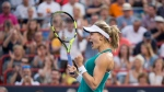 Eugenie Bouchard celebrates her victory over Dominika Cibulkova of Slovakia during second round of play at the Rogers Cup tennis tournament Wednesday July 27, 2016 in Montreal. (THE CANADIAN PRESS / Paul Chiasson)