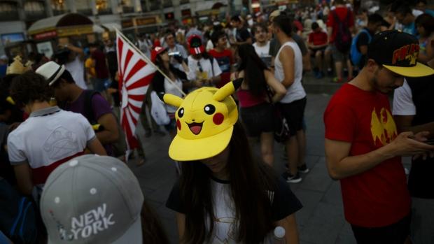Pokemon Go players in Madrid