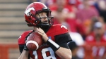 Calgary Stampeders quarterback Bo Levi Mitchell looks to pass against the BC Lions during first half CFL football action in Calgary on Friday, July 29, 2016. (Jeff McIntosh / THE CANADIAN PRESS)