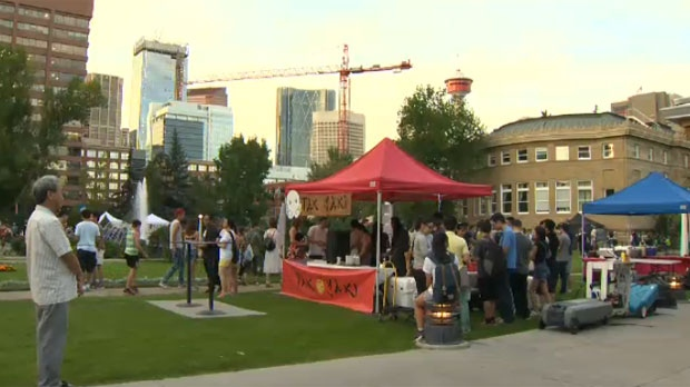 Central Memorial Park will host the Calgary Night Market for the next few Friday.